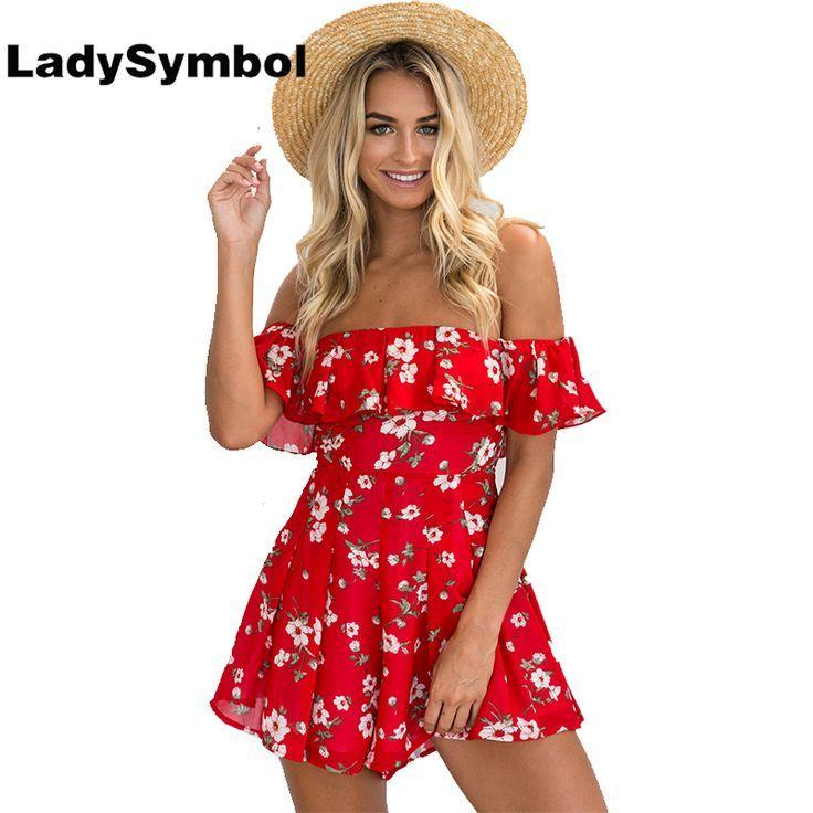 cool Tendance salopette 2017 - LadySymbol Red Floral Print Ruffle Off Shoulder Women Rompers Jumpsuit Summer 20...