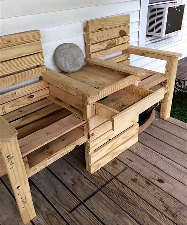pallet patio bench with storage drawers