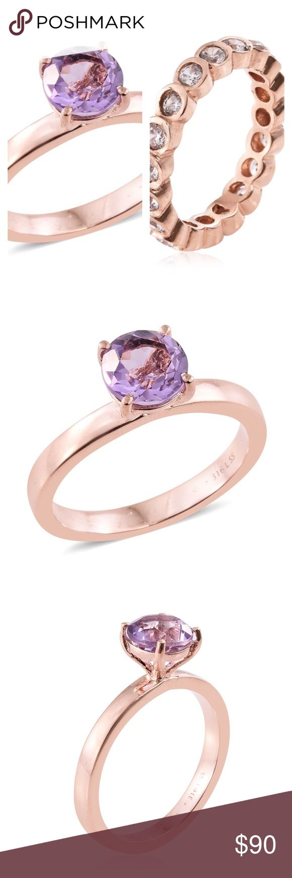 Rose de France Amethyst Ring Set Size 6 Rosegold Embellish your looks with this set of two dazzling prong setting band and eternity ring. This set of jewelry pieces feature Rose De France amethyst ring and simulated diamond ring. Set in a frame of ion plated rose gold over stainless steel, these enchanting rings will take your fashion quotient to new heights.  Finish ION Plated 18K RG Total Stone Weight (Carat) 4.450 2183 Brazilian Pink Amethyst artisan Jewelry Rings