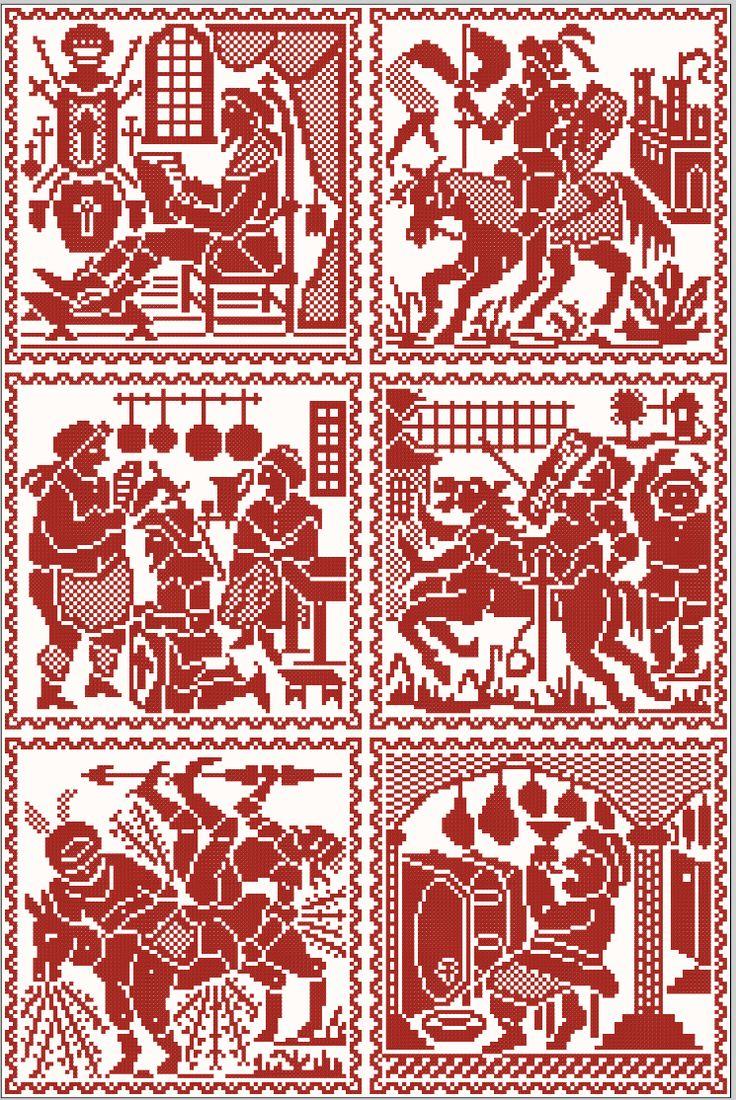 Scenes of Don Quixote - #400Cervantes | Charts for cross stitch or filet crochet.