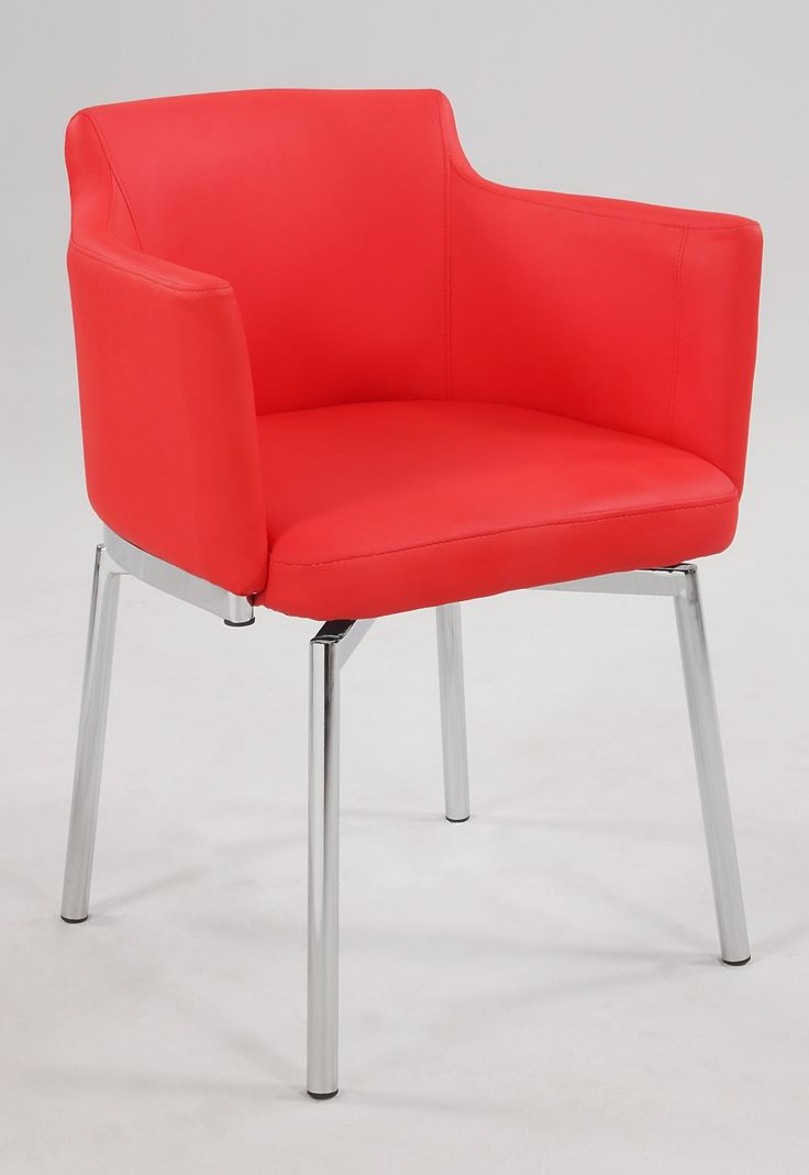 Club Style Swivel Arm Chair KD 2 Per Box In Red   Set Of 2
