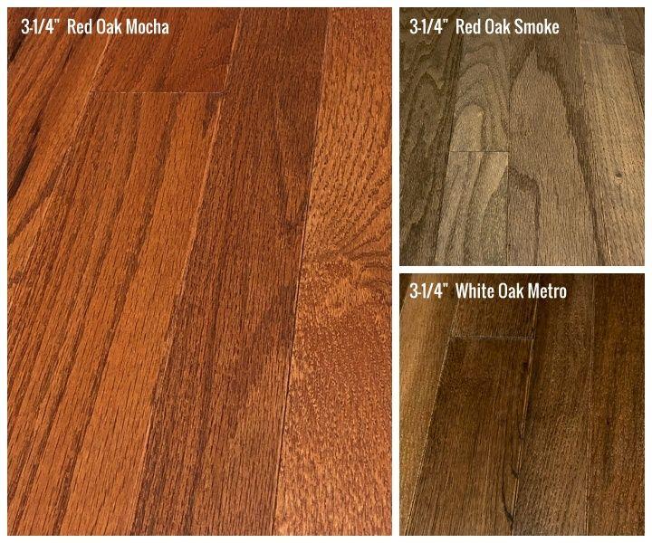 Oak Hardwood Flooring 3 1 4 Red Oak Mocha Stain 3 1 4 Red Oak Smoke Stain 3 1 4 White Oak Metro Brown Stain Hardwood Floors Flooring Hardwood