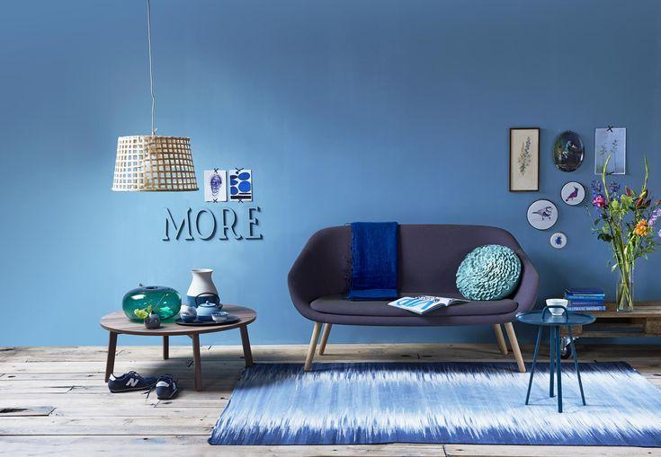 blauw in de woonkamer