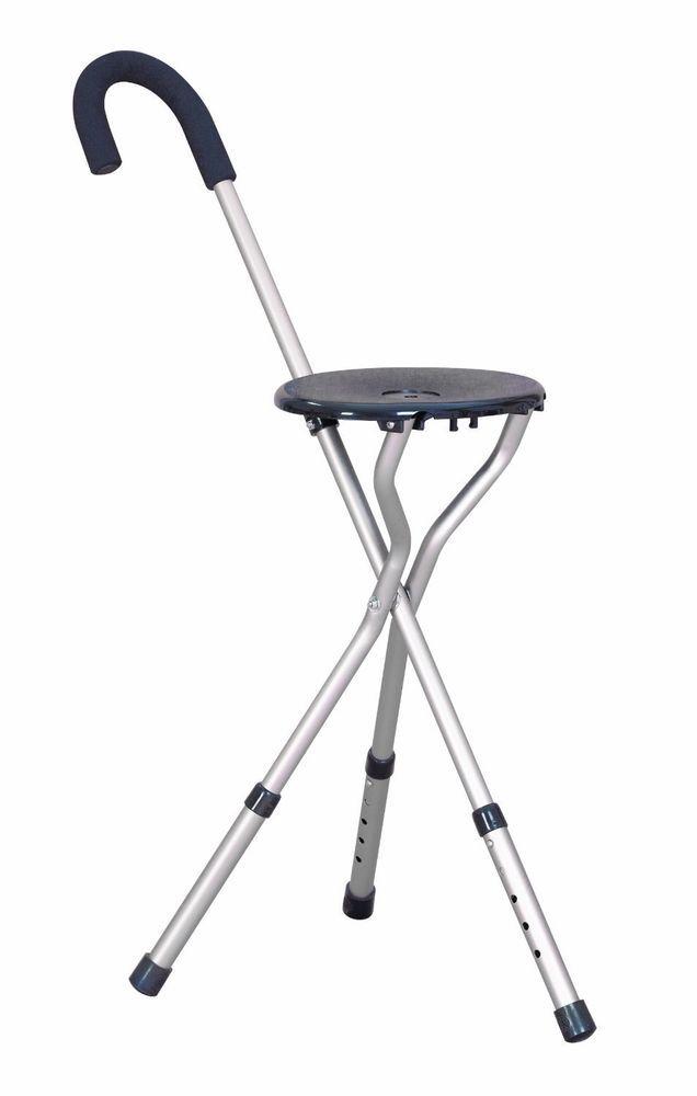 Height Adjustable Tripod Walking Stick Seat Chair Leg
