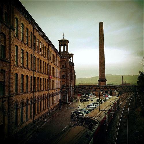 Salts Mill & Leeds bound train, Saltaire, Yorkshire