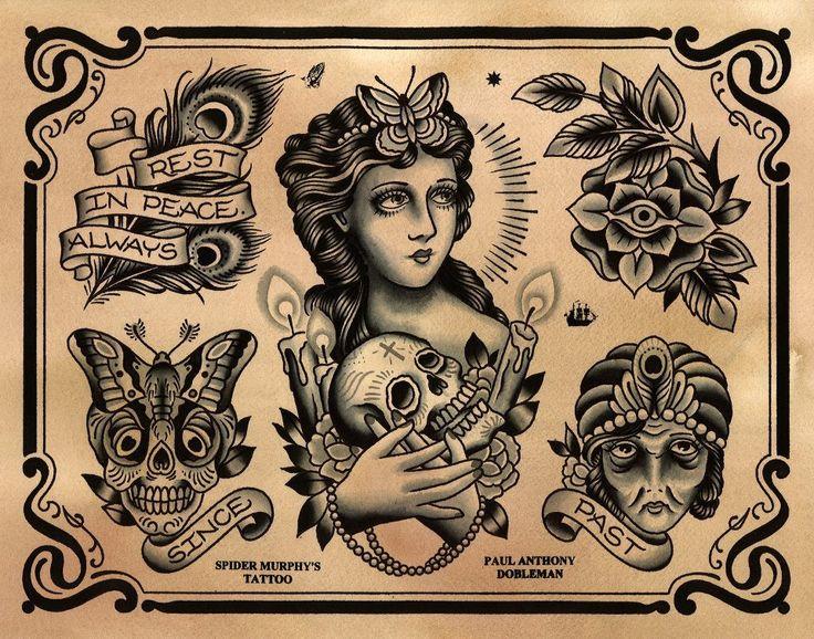 Paul Dobleman Traditional Tattoo Flash | KYSA #ink #design #tattoo