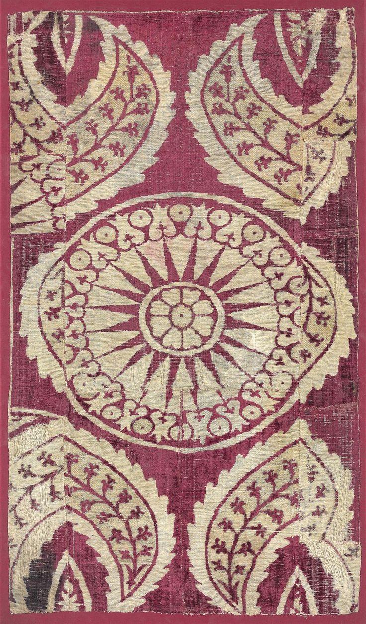 Ottoman Silk Panel, Bursa or Istanbul, 17th century, Panel 29 x 16.1/4in. (73 x 41.8cm.); frame 30.3/8 x 17.3/4in. (77 x 45.4cm.),