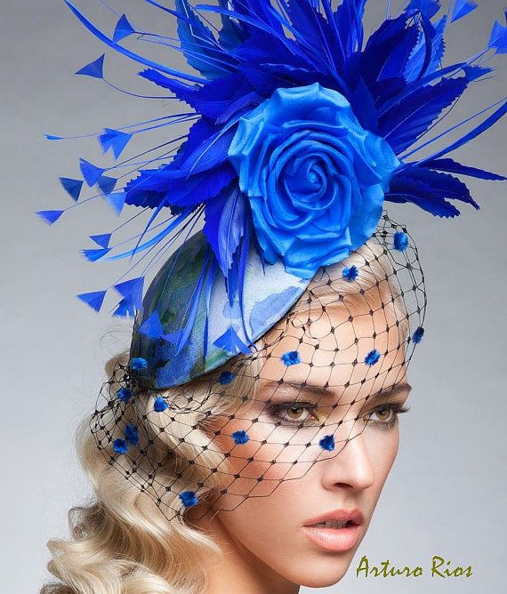 Royal Blue Fascinator Royal Blue cocktail hat by ArturoRios