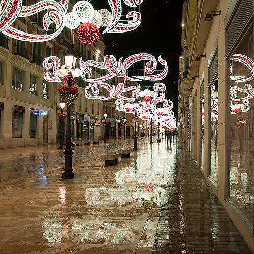 Street light Christmas decorations in Costa del Sol, Spain
