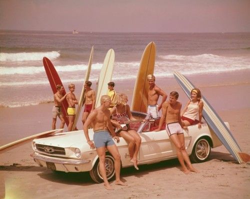 "Surfing became a favorite past time for many Southern California teens. If you couldn't surf, it was still the trend to ""look the part"" as a ""surfer boy or girl""."