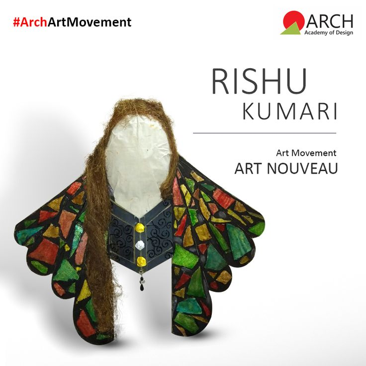 """Art Nouveau was a short lived movement that had a great impact on the decorative arts, jewelry and furniture. My installation is inspired by the Art Nouveau jewelry, which used glass and other cheaper material in them. Nate motifs and flowing hair were common elements of the style, and frequently represented in the jewelry pieces."" #ArchAcademyofDesign #ArchArtMovement #ArtNouveau"