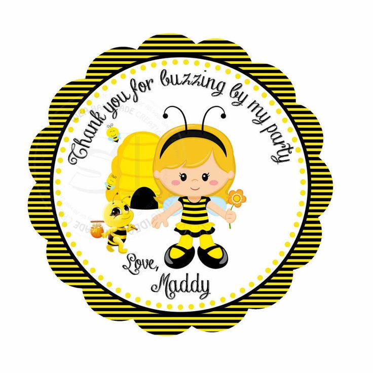 "Custom Bee Birthday 2.5"" Printable Tags- Bumble Bee Party Favor Scallop Tag- DIY Thank you Bee tags-Digital File by StudioIdea on Etsy"