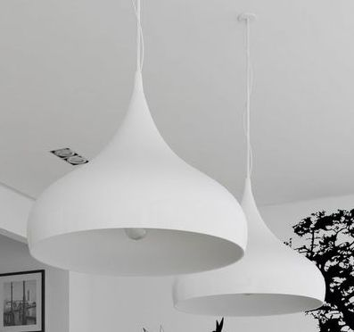 Hanging lights above the island