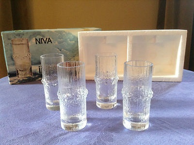 FOUR iittala Finland NIVA - Tapio Wirkkala 1 oz Cordial Shot Glasses -- in Box