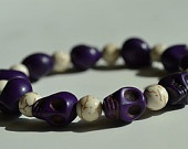 Purple Day of the Dead Skull Bracelet with Creamy White Magnesite Beads (Dia De Los Muertos - All Saints Day) - Crafted in the USA