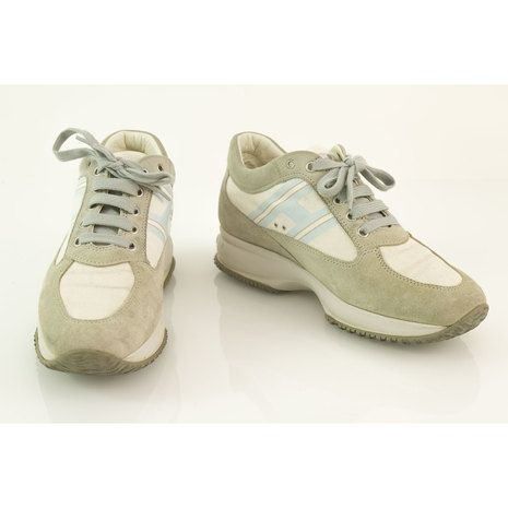 Women light gray & blue HOGAN Interactive By TOD'S Shoes Sneakers Trainers 38