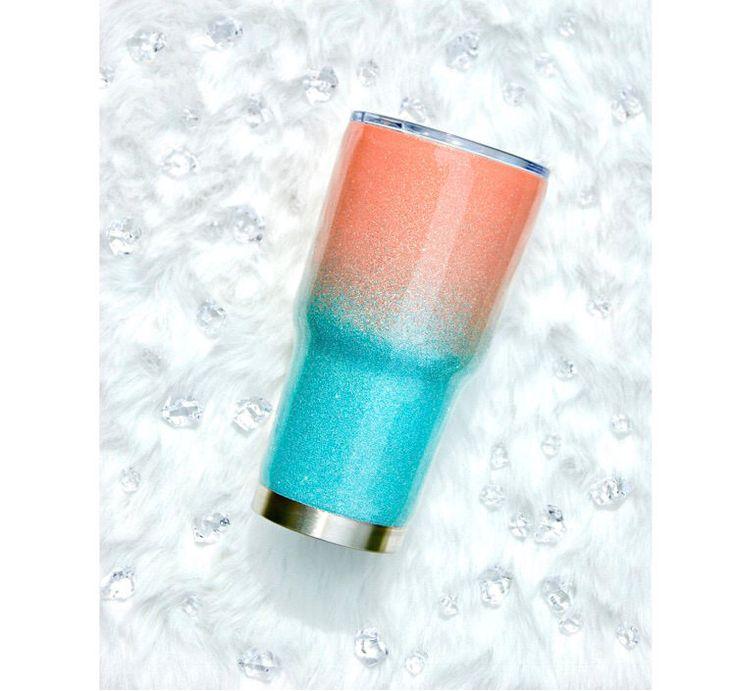 RTIC Tumbler, Ombre Glitter Tumbler, Stainless Steel Tumbler, Birthday Gift for Her, RTIC Custom Tumbler, Travel Mug, Water Bottle, Gift by PersonalDesignBoutiq on Etsy https://www.etsy.com/listing/520745057/rtic-tumbler-ombre-glitter-tumbler