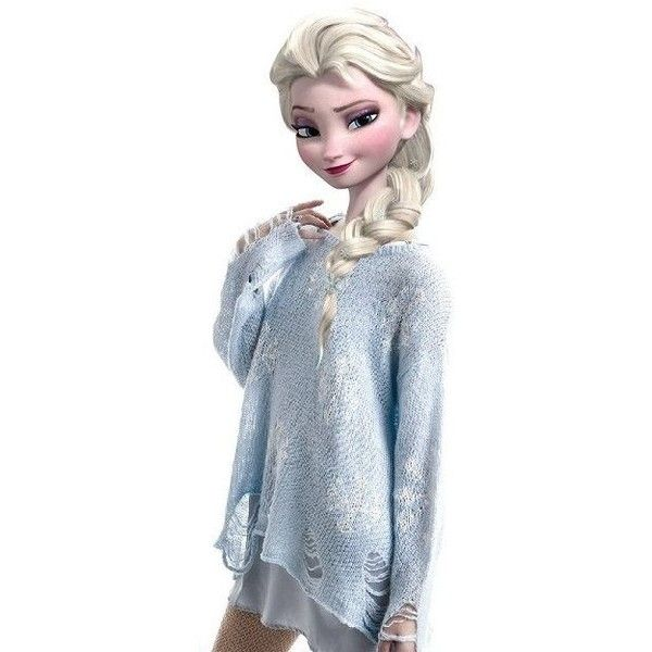 Modern Queen Elsa Blue Snowflake Sweater by drpepperswife found on Polyvore featuring tops, sweaters, blue sweater, blue top and snowflake sweater