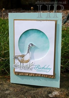 "By Helen Read. Uses Stampin' Up ""Wetlands"" stamp set. She used a faux watercolor technique for the background seen through dye-cut circle. Her technique involved a clear acrylic block, ink, & a spritz of water."