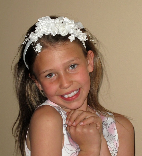 Items Similar To Ivory Flower Girl Headband Childrens Wedding Hair Accessories On Etsy