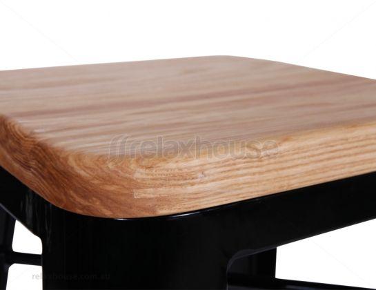 65cm Black Tolix Stool Replica Wood Seat
