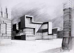 Modern architecture drawing. Rysunek nowoczesnej architektury