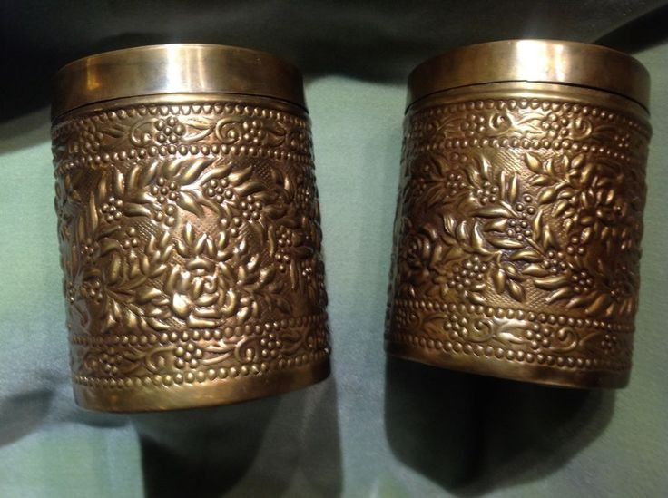 """TWO Vintage APRIL CORNELL Brass ROSE MOTIF Medium Canisters with Lids 6""""h  5""""d"""
