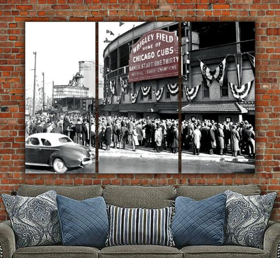 Chicago Cubs 1945 World Series on Canvas, Picture has been digitally painted for a unique perspective. Marquee adds just the right amount of color for a dramatic look. Size (as shown) is more than 6 ft. wide and 4 feet tall! Available as a 3 panel set or as a single panel.   SHOP WITH CONFIDENCE FROM HOLY COW CANVAS STUDIOS: ✔ EPSON State-of-the Art Printing Process ✔ Museum Quality, Heavy-Duty Canvas with Satin Finish ✔ Fast, Made to Order - Usually in 1-2 Days ✔ Low-Cost Shipping, Often…