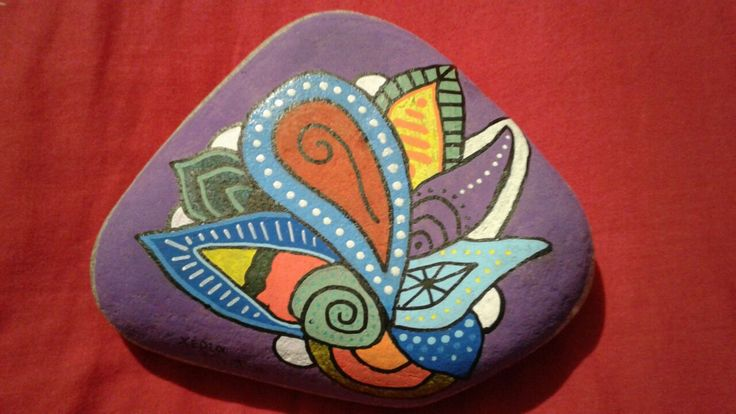 Painted stone.