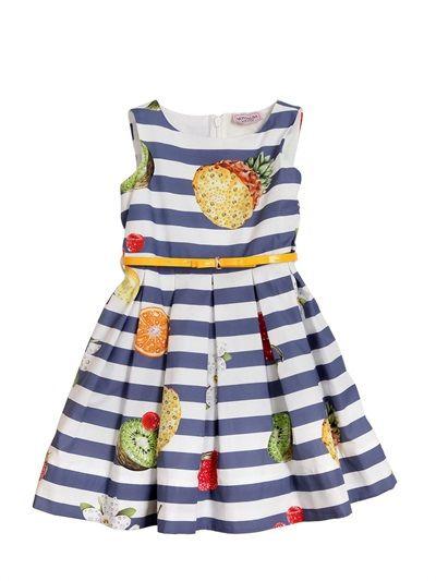 FRUIT PRINTED COTTON POPLIN DRESS