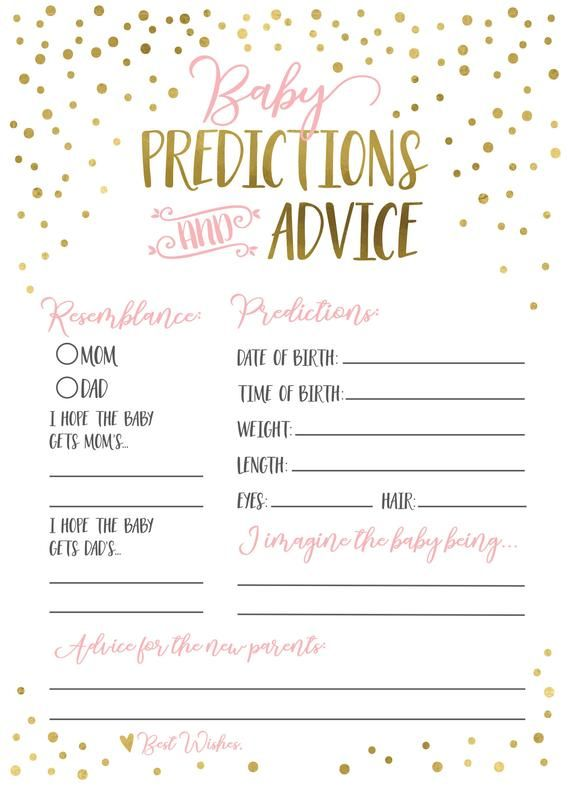 Modern Pink Baby Prediction Cards Baby Predictions Baby Etsy Baby Prediction Cards Baby Shower Prediction Cards Baby Gender Prediction