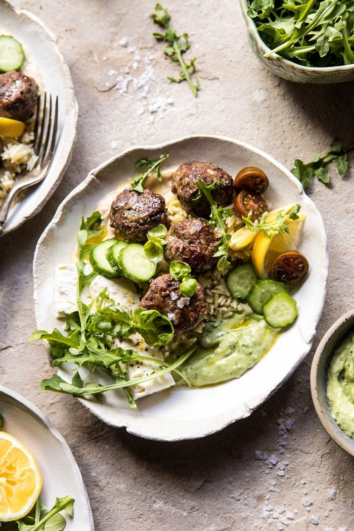 Greek Lamb Meatballs with Avocado Goddess Sauce   halfbakedharvest.com #lamb #easy #meatballs