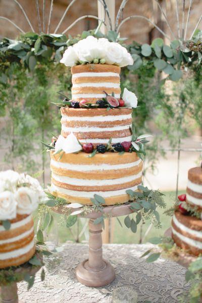 Berry and white rose naked cake: http://www.stylemepretty.com/2015/01/29/something-blue-fall-winery-wedding/   Photography: Megan Welker - http://www.meganwelker.com/