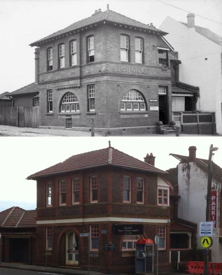 Five Dock Post Office, Great North Road, Five dock circa 1920 and 2013. [1920 - Canada Bay Connections>2013 - Phil Harvey. By Phil Harvey]