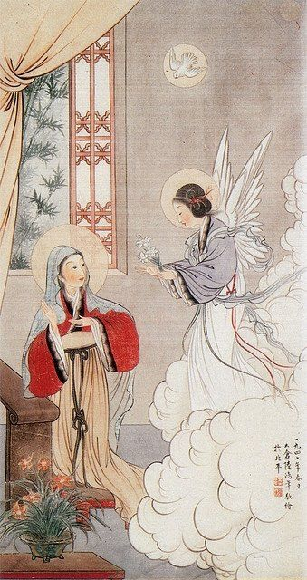 Chinese Orthodox icon of the Annunciation - beautiful. Notice the Angel enters from the right unlike most Western Annunciations.