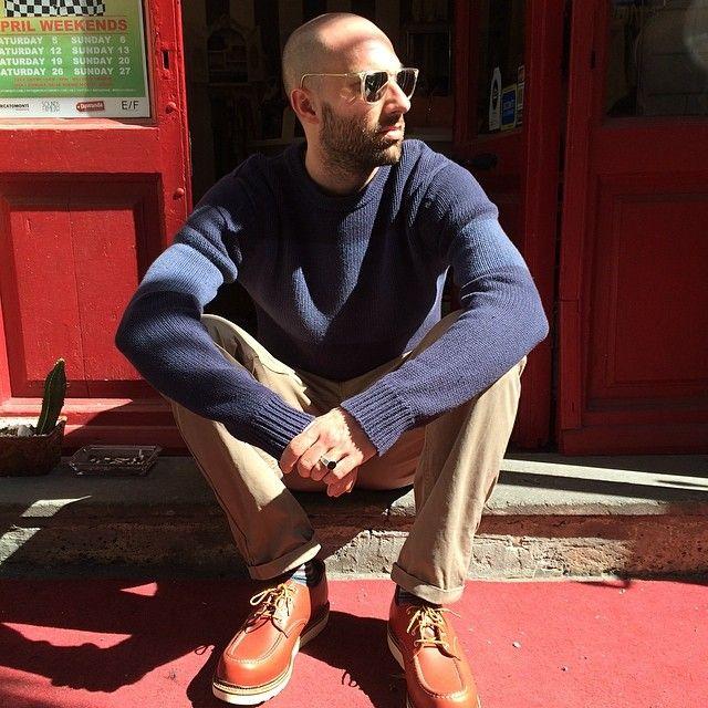 #sunglasses #redrose #cotton #knit #scotchandsoda #trousers #norseproject #shoes #redwing