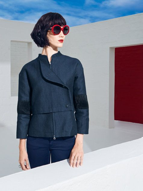 Boxy Jacket with Leather Patches 06/2014