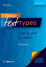 Senior Text Types: A writing guide for students - fully revised to provide a ready reference tool for students, teachers and parents to assist in the production of over 30 different types of written texts. Each text type is presented in a double page format, with one page analysing the structure of the genre and the second page presenting an example of the text. This presentation provides the scaffolding and modelling necessary for the development of writing skills.