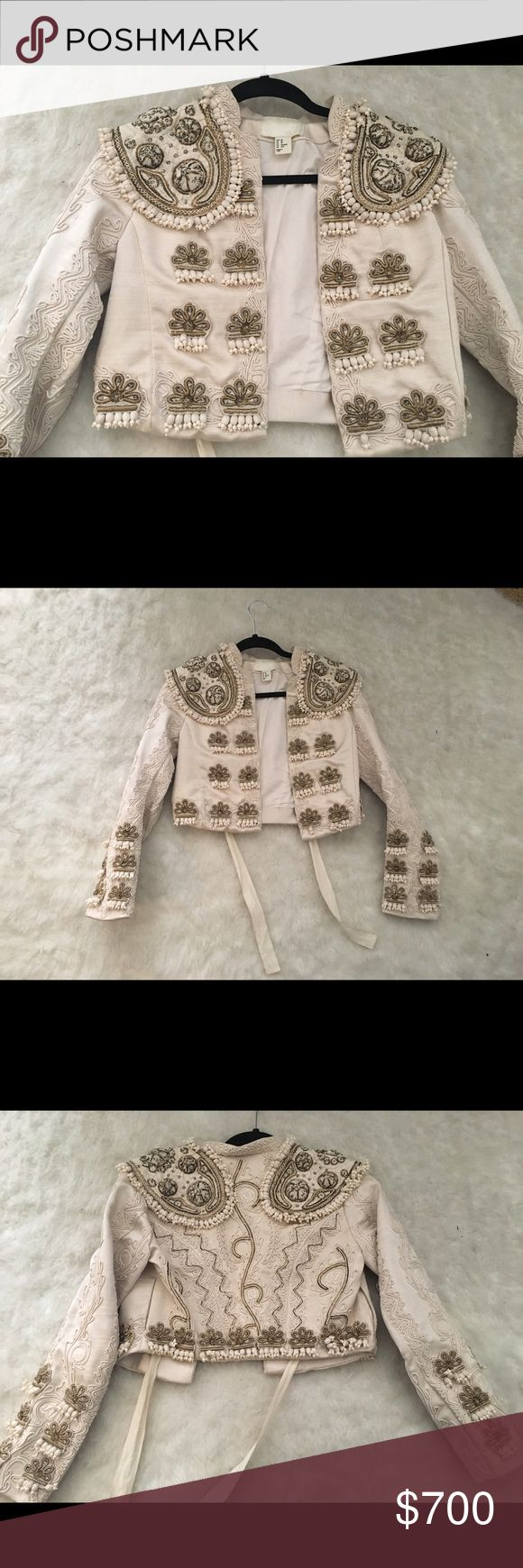 H&m conscious collection balmain matador jacket Xs Hm exclusive conscious collection rare find Xs jacket bolero completely headed and embroidered also for sale on mercai for less H&M Jackets & Coats Blazers