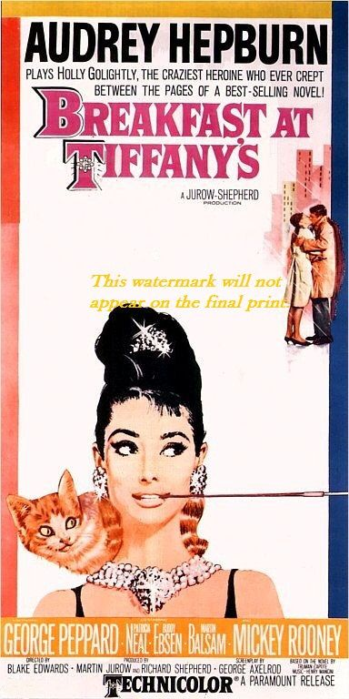 "Print of old Movie Film Poster - ""BREAKFAST AT TIFFANY'S"" - Audrey Hepburn on Etsy, $6.95"