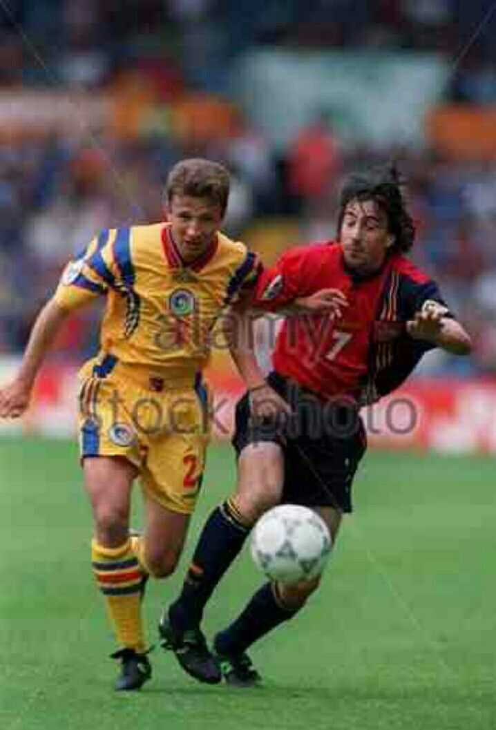 Spain 2 Romania 1 in 1996 at Elland Road. Dan Petrescu and Emilio Amavisca battle for the ball in Group B at Euro '96.