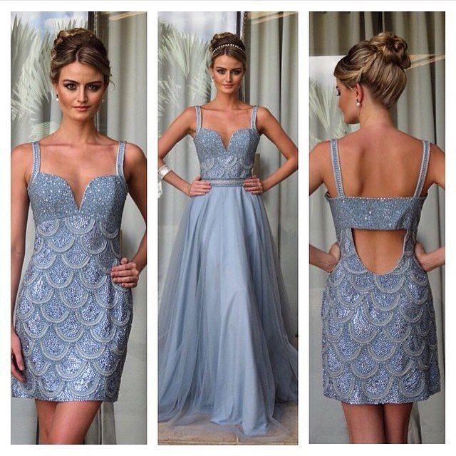 Que tal resolver duas festas em 1 (um) vestido? Essa saia removível é vida! Façam mais assim.  Quem gosta?