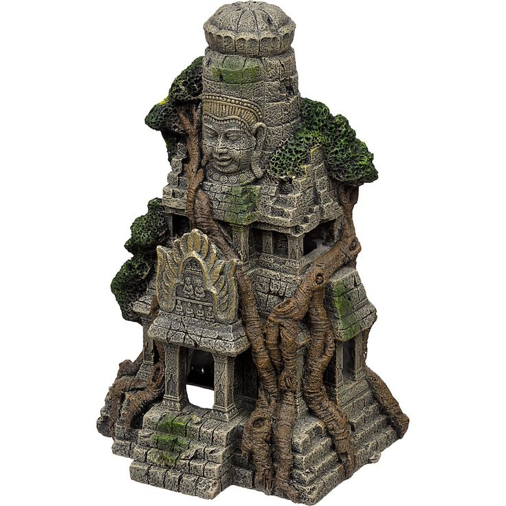"7"" L X 6"" W X 11"" H. Boring tanks are history! Create an undersea world of forgotten treasures & spark your imagination w/a cambodian temple ruins aquarium ornament."