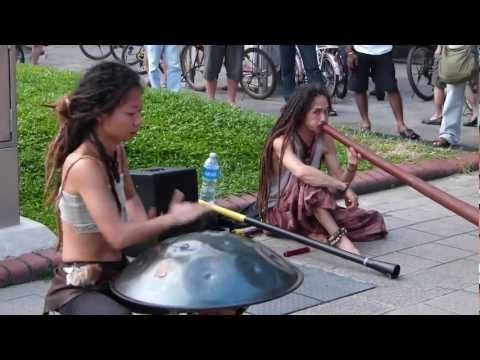 Yuki and Tatsuki in Singapore didgeridoo, hang drum, bells
