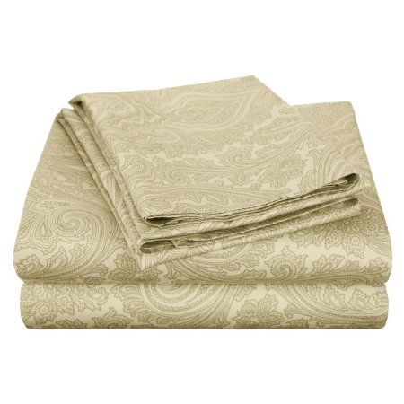 Superior 600 Thread Count Wrinkle-Resistant Luxury Cotton Italian Paisley Sheet Set, Green