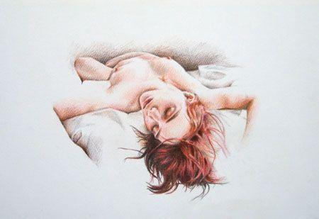 Mujer acostada - Lápices de colores - 43 x 30 cms