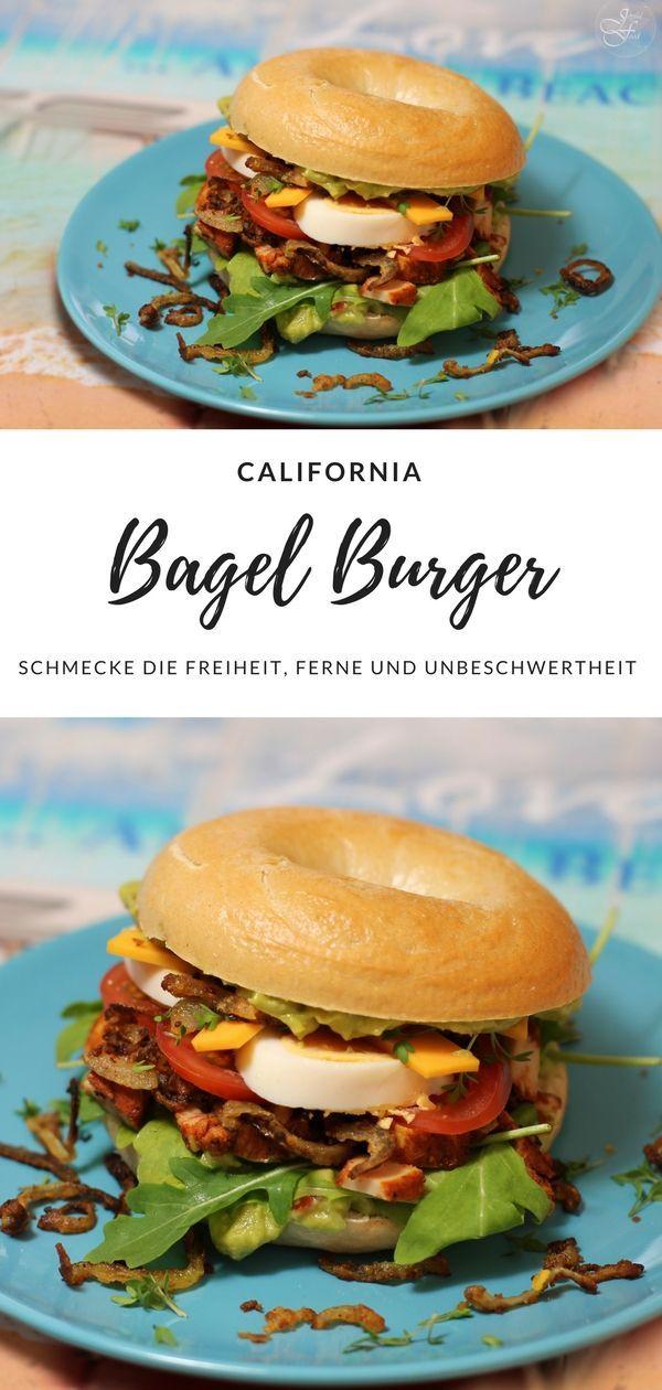 Rezept für den ultimativ leckeren California Bagel Burger. Mit Avocado, Hähnchen und Ei.  #Burger #Bagel #Bagelburger #USA #Avocado #Ei #Rezept #Joyfulfood #Hähnchen #Chicken #Foodtrend