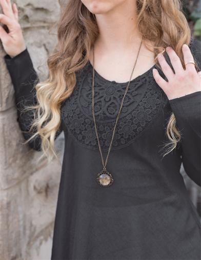 Midnight Hour Lace Tunic | Black Lace Applique Tunic | Victorian Trading Co.