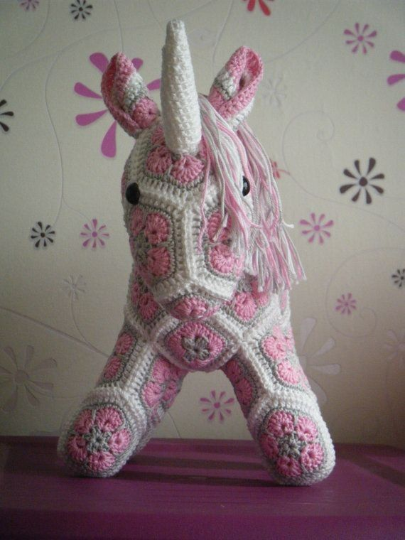 Hand-Knitted Crochet African Flower Unicorn Pattern  - Crochet Craft, Room Decor, Crochet Animal
