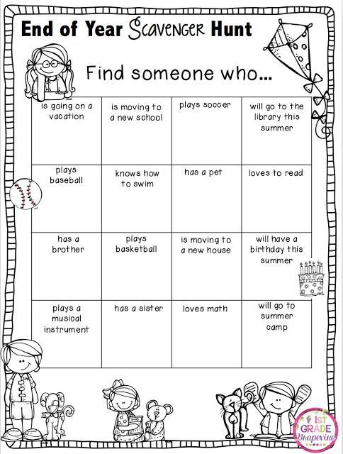 1st Grade Grapevine: End of Year Scavenger Hunt - my kiddos had loads of fun on the last day of school doing this, and they were so engaged!
